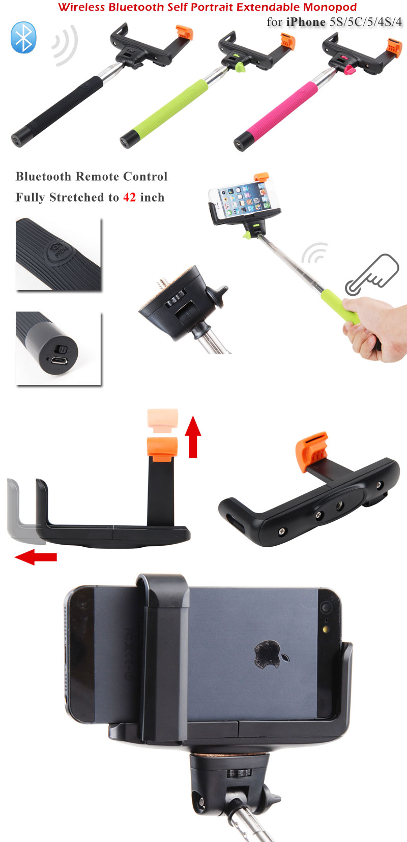 bluetooth selfie stick extendable monopod pole for smartphone cellphone ebay. Black Bedroom Furniture Sets. Home Design Ideas