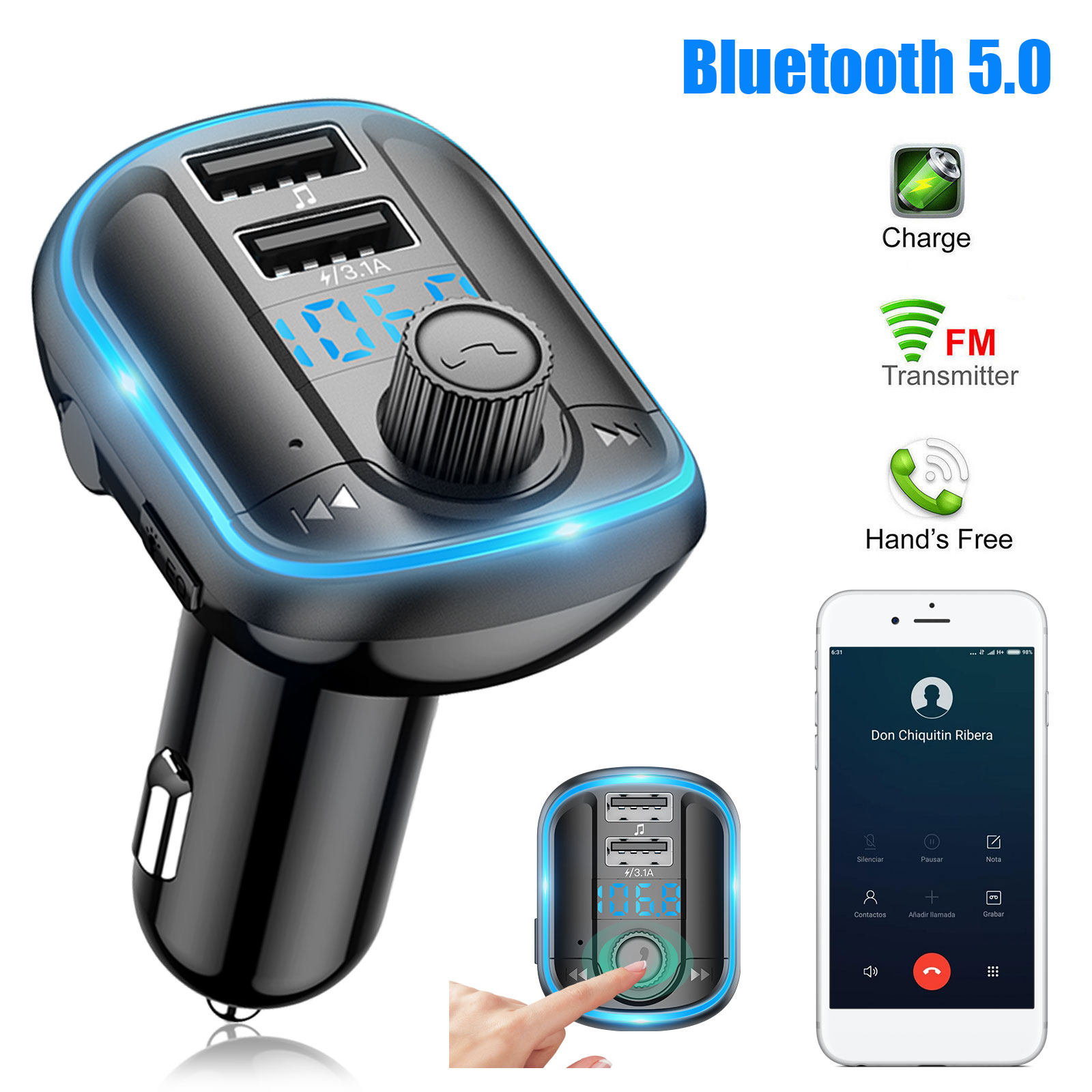 Car Wireless Bluetooth FM Transmitter Radio Adapter Kit MP3