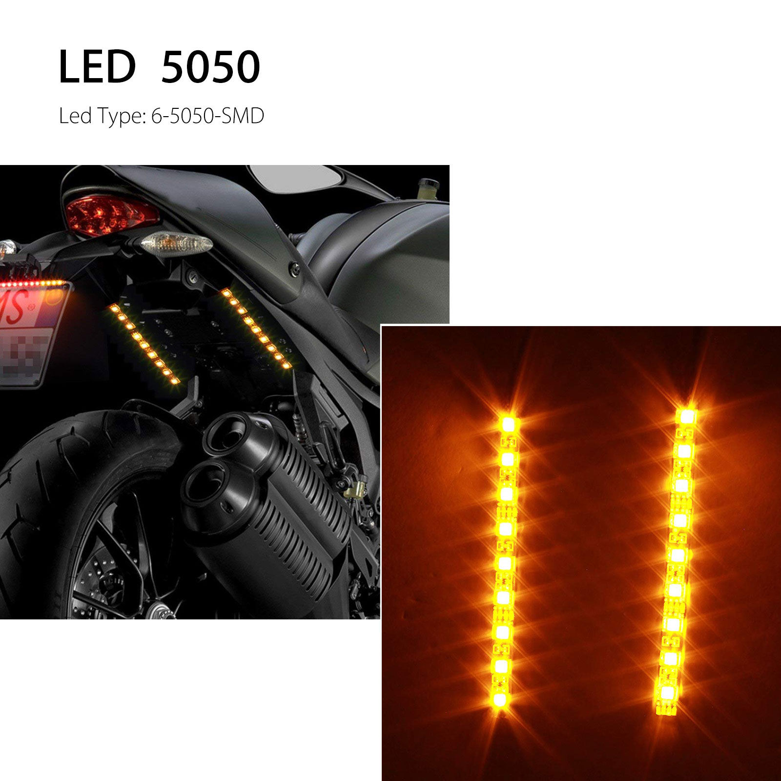 2x-4-034-Motorcycle-Flexible-Strip-Blinker-Flasher-Front-Rear-Turn-Signal-6LED-Amber