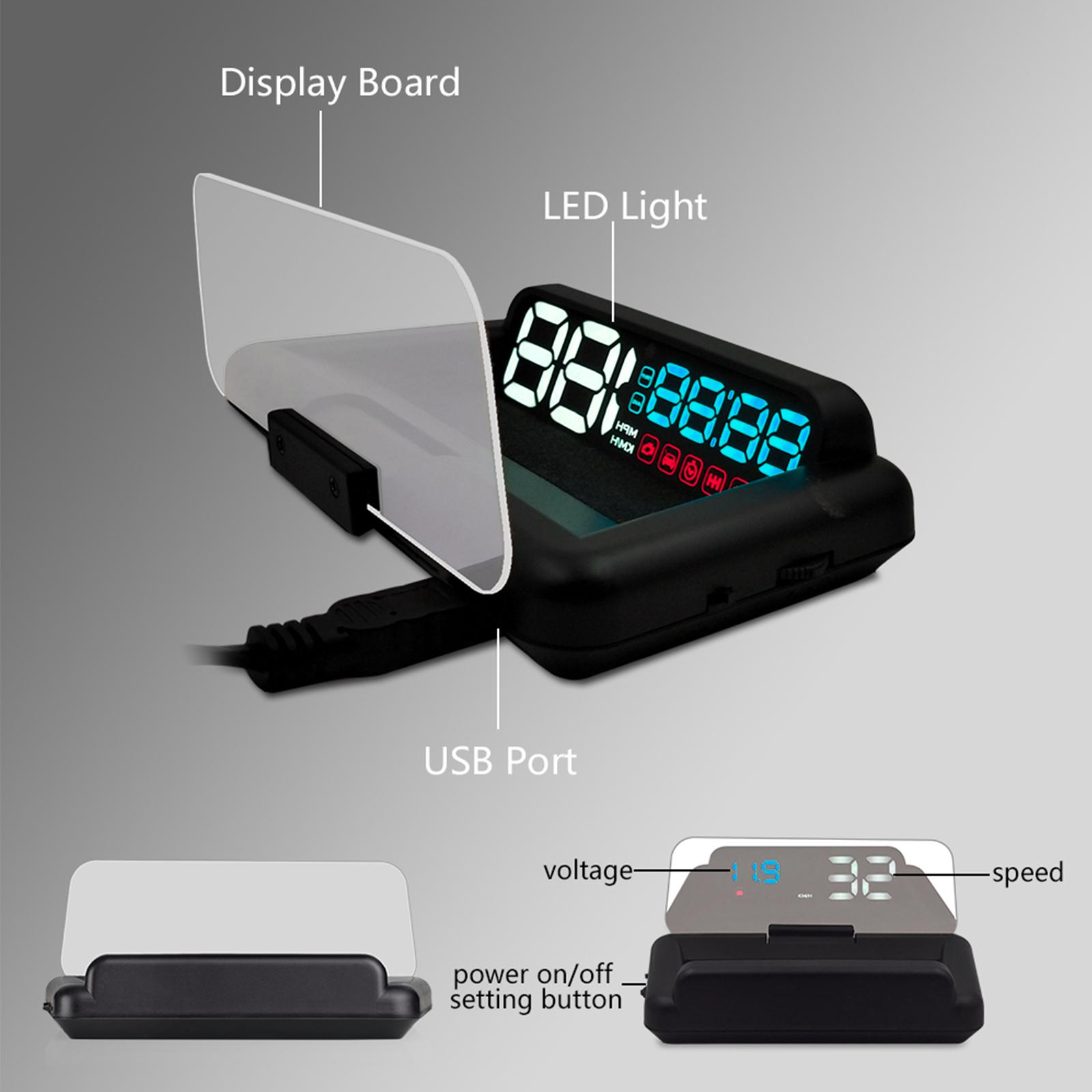 5 39 39 car hud head up display obd2 speed warning system. Black Bedroom Furniture Sets. Home Design Ideas