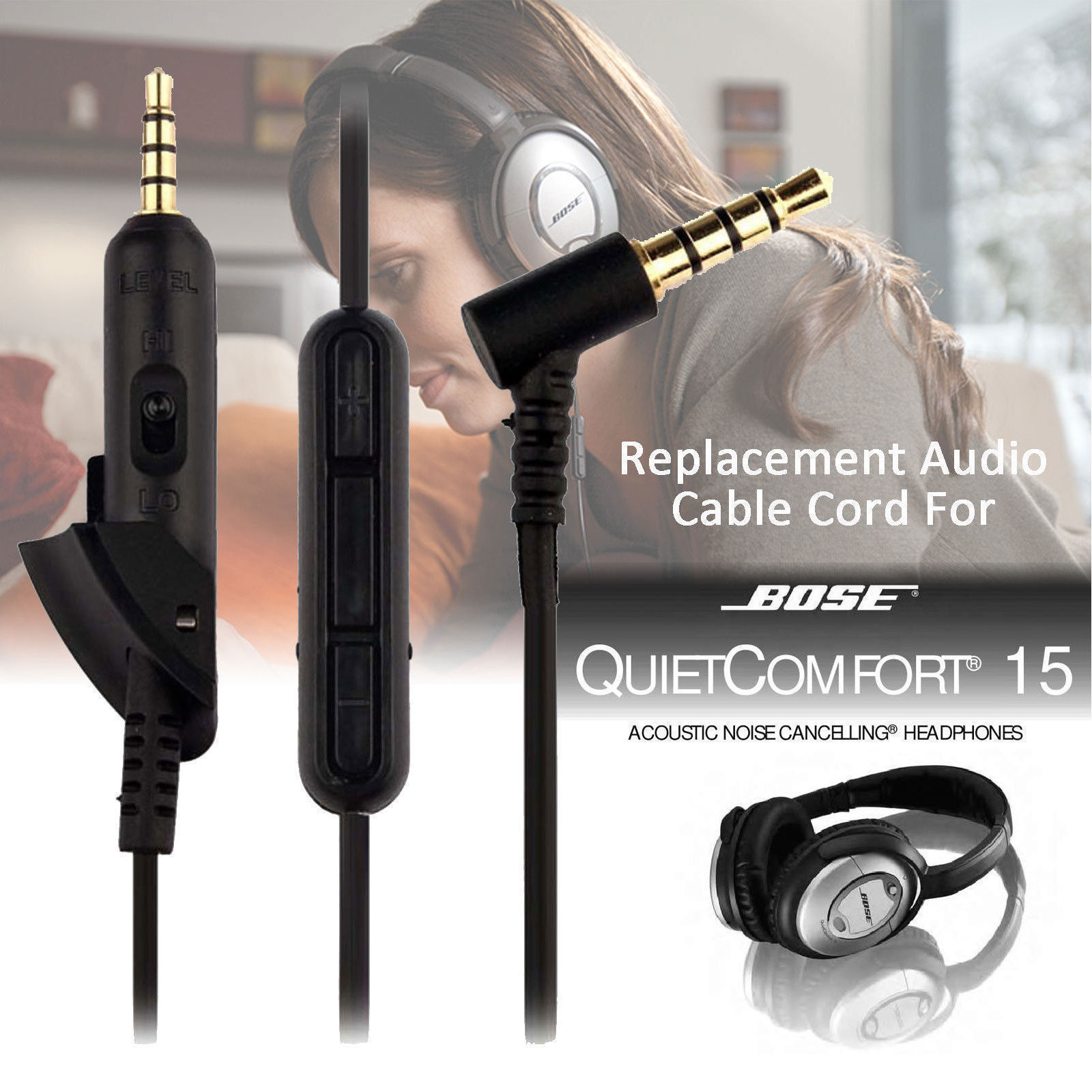 Replacement-Ear-Pads-Cushion-Audio-Cable-Cover-for-Bose-QC15-QC25-QC35-Headphone thumbnail 2