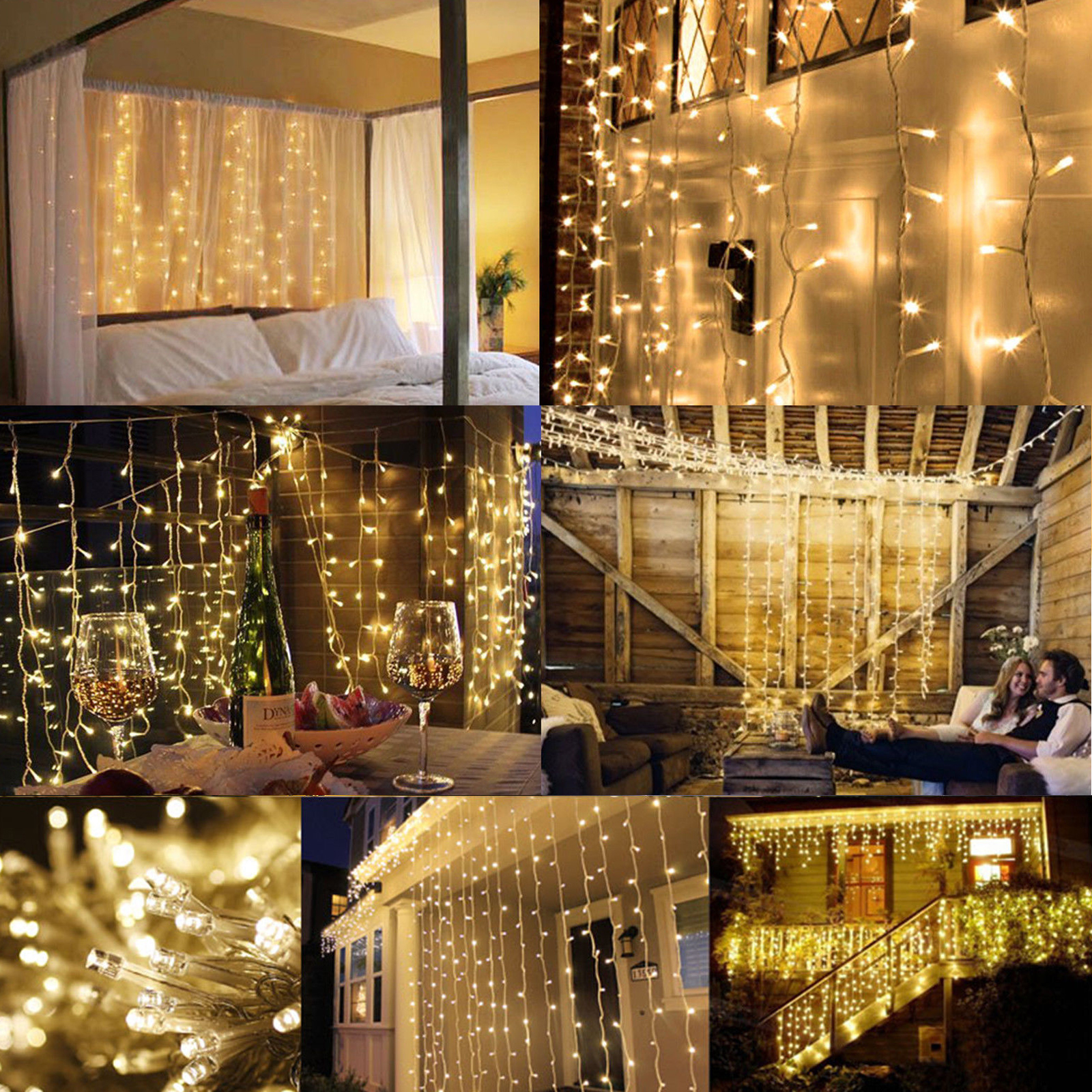 100 Led 10m Fairy Curtain String Lights Wedding Party Room