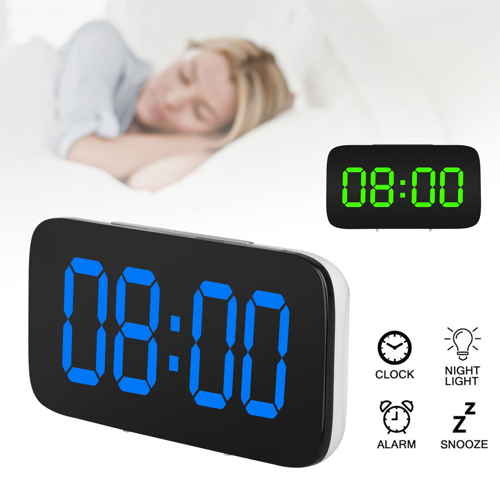 Image Is Loading Alarm Clock Large Digital Led Display Usb Battery