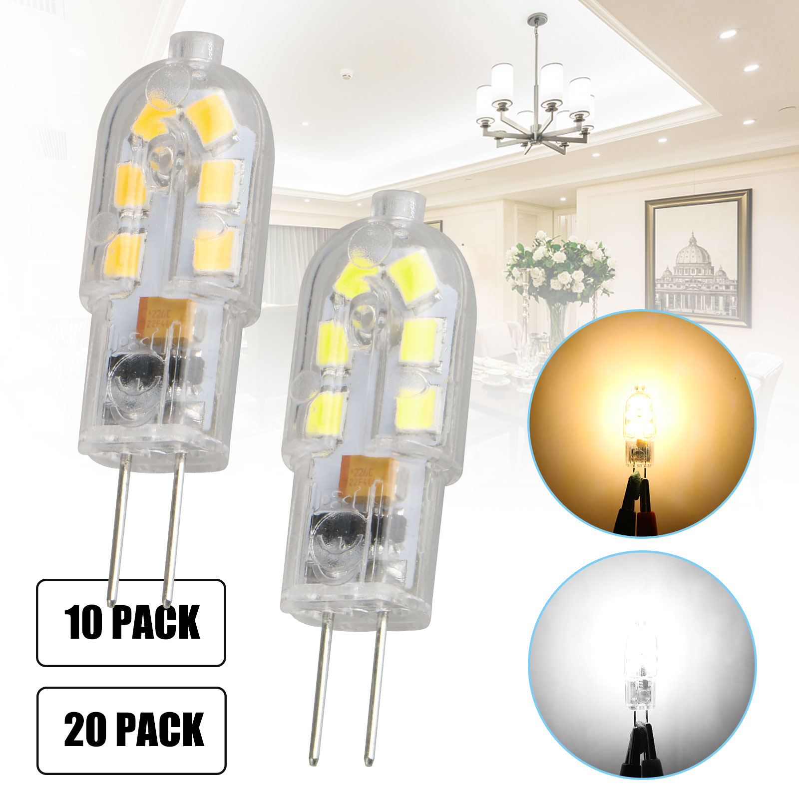 10X20X G4 2W Capsule LED Light Bulb Replace Halogen Bulbs 12V 6000K ...