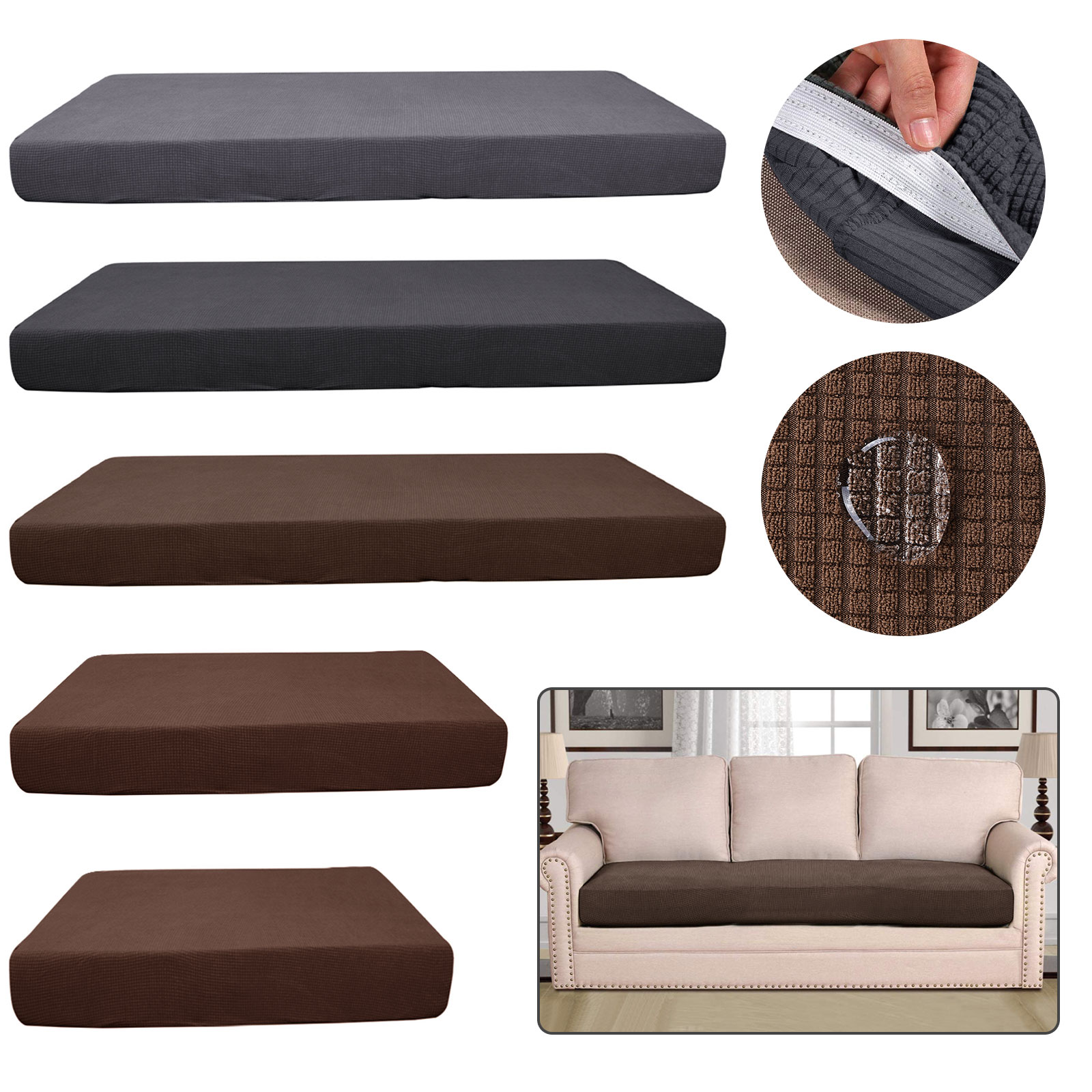 Stretchy 1 3 Sofa Seats Square Cushion Cover Couch Slip Covers