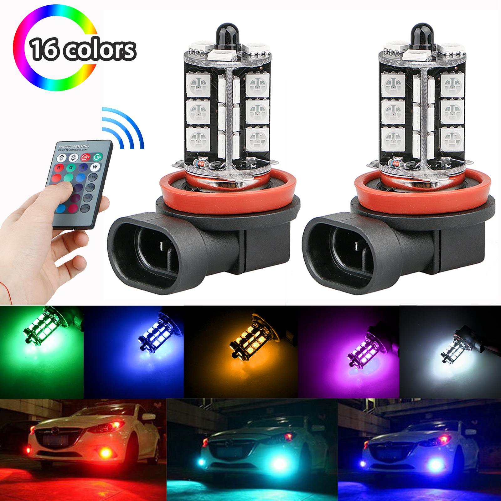 2Pcs H8/H9/H11 27SMD 5050 Multi-Color RGB LED Fog Lights Driving Bulbs + Remote