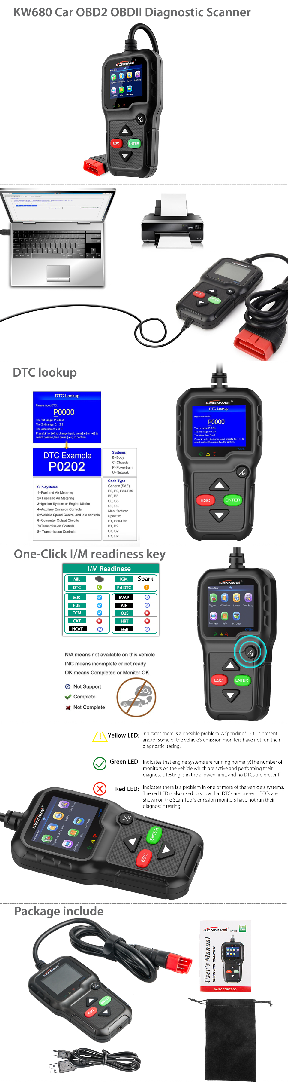 Details about OBD2 OBDII Automative Code Reader Scanner Check Engine Live  data Scan Tool KW680