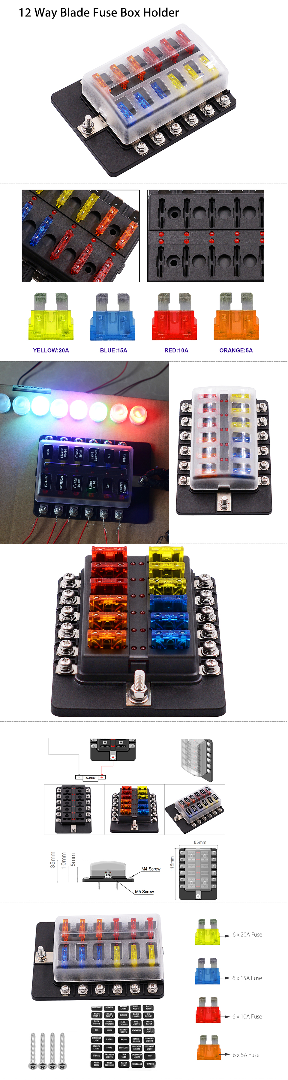 12 Way Car Auto Boat Bus Utv Blade Fuse Box Block Cover 12v With Led For Cars This Is A That Common Supplying Power Circuits At The Same Time Suitable Old Motor Off Road Ship And