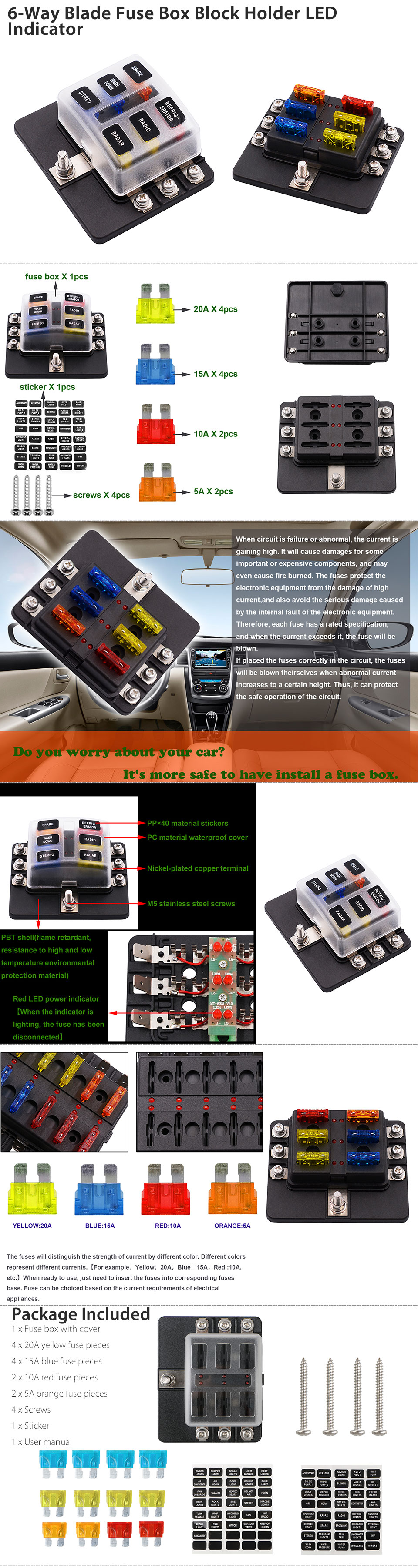 This is a 6-way blade fuse block that a common bus supplying power for 6  circuits at the same time, suitable for auto/old motor/off road cars/ship  and ...