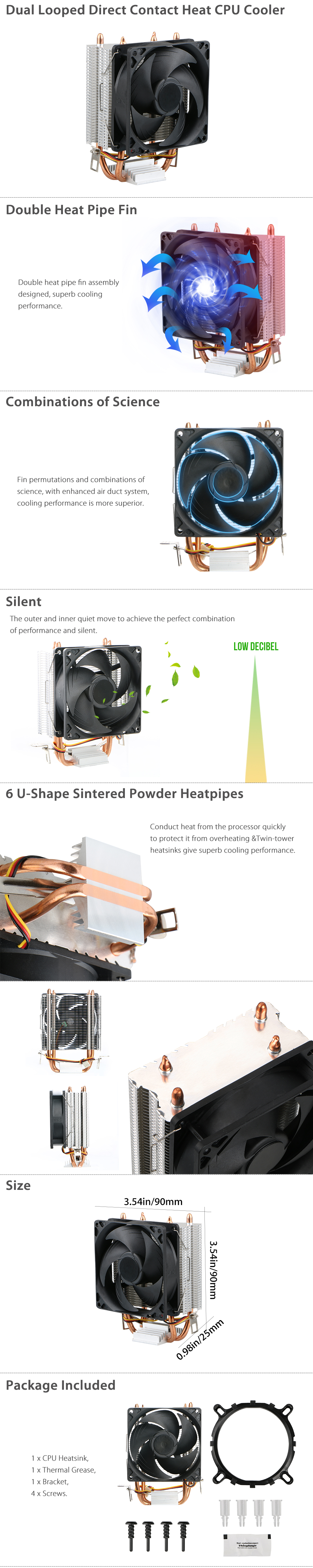Quiet CPU Dual Looped Cooler Fan for LGA 1366//1150//1155//1156//775 AMD 3//2//754