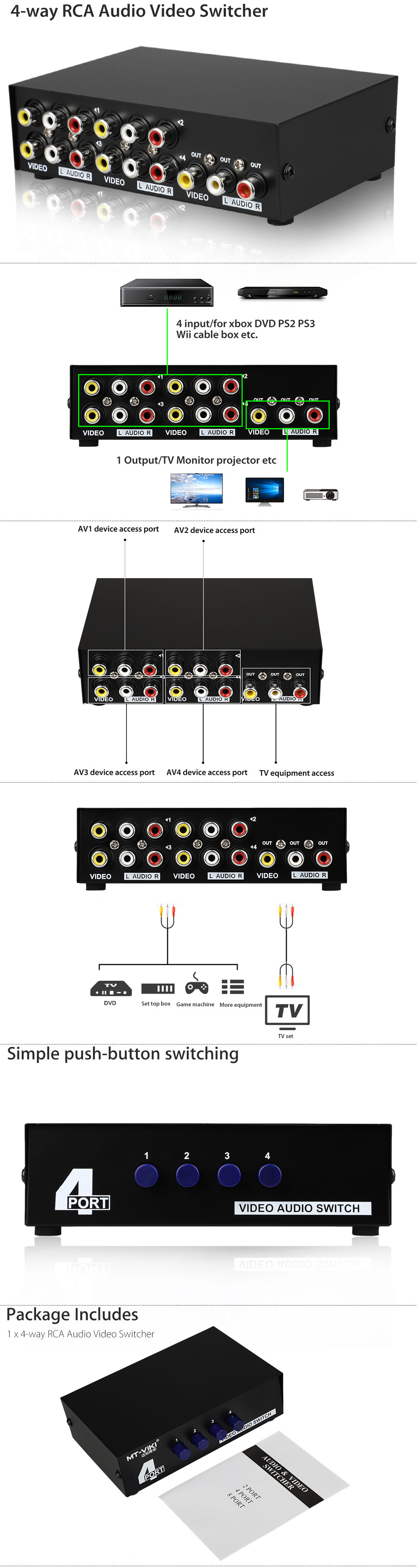 4 Ports Video Audio Rca Av 4 In 1 Switch Selector Switcher