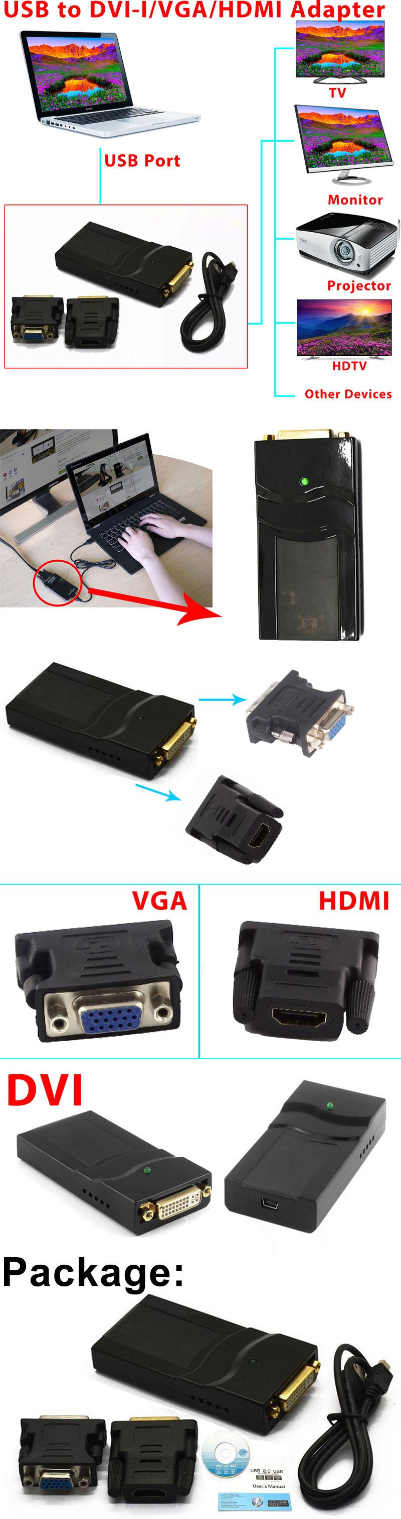 External Video Card USB to DVI VGA HDMI Display Adapter